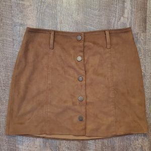 Forever 21 Faux Suede Button Front Mini Skirt